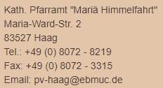 Adresse Pfarramt Haag